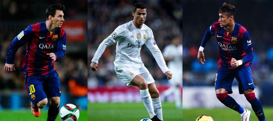 Leo Messi, Cristiano Ronaldo y Neymar