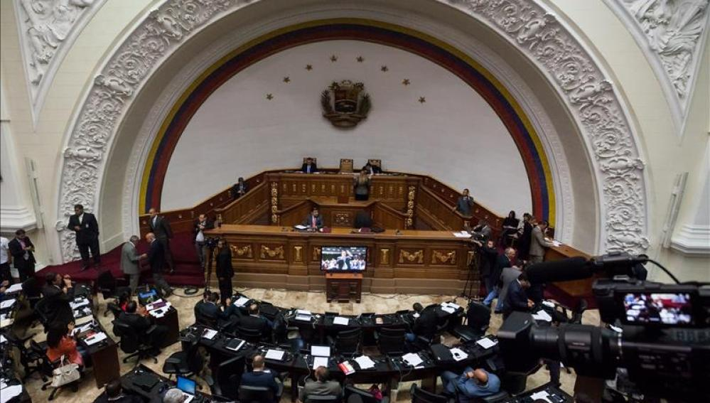 Vista general del hemiciclo de sesiones de la Asamblea Nacional, en la ciudad de Caracas (Venezuela)