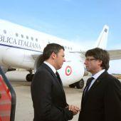 Carles Puigdemont recibe al primer ministro italiano Matteo Renzi