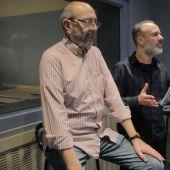 Miguel Rellán y Javier Gutiérrez durante la grabación de 'Andante'