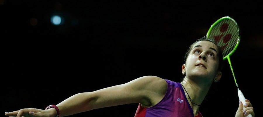 Carolina Marín durante su juego en el Campeonato de Europa