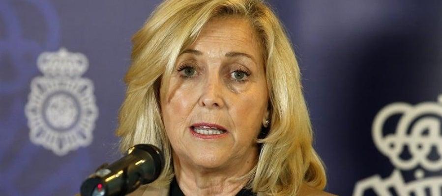 La delegada del Gobierno en Madrid, Concepción Dancausa, durante una rueda de prensa