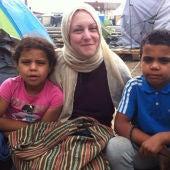 Familia de refugiados en Idomeni