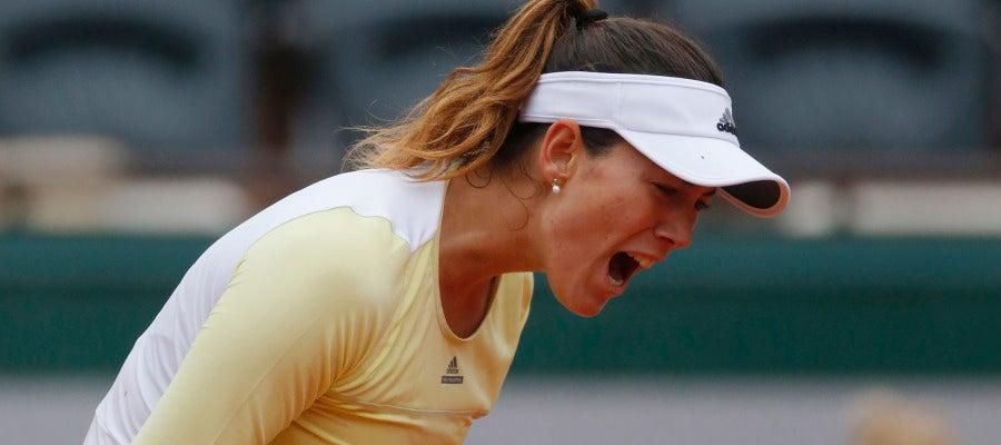 Garbiñe Muguruza celebra su última victoria en Roland Garros