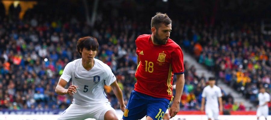 Jordi Alba en un amistoso previo a la Eurocopa de Francia contra Corea del Sur