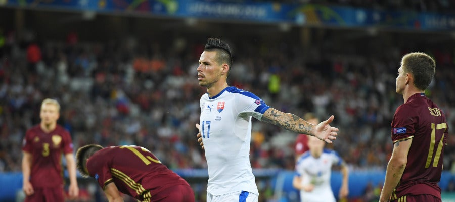 Hamsik celebra su golazo ante Rusia