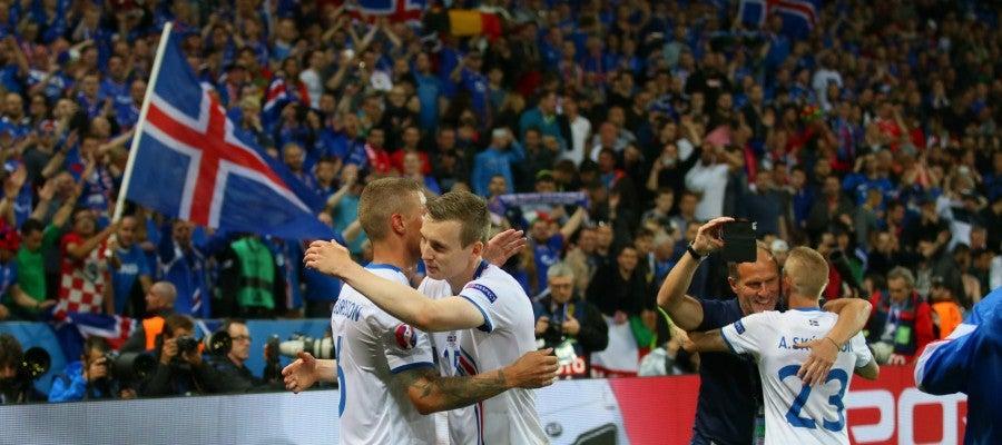 Islandia durante su partido contra Portugal