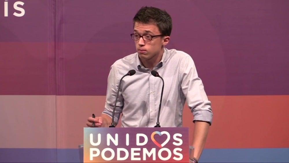 """Frame 3.640793 de: Iñigo Errejón reconoce que  """"no son unos buenos resultados para Unidos Podemos"""""""