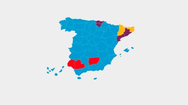 Mapa de España según el partido más votado el 26J