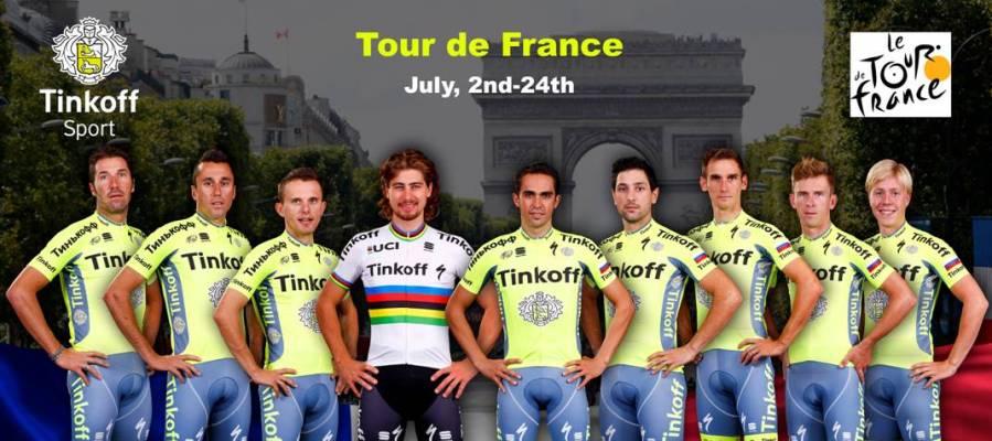 El equipo Tinkoff para el Tour de Francia, liderado por Alberto Contador