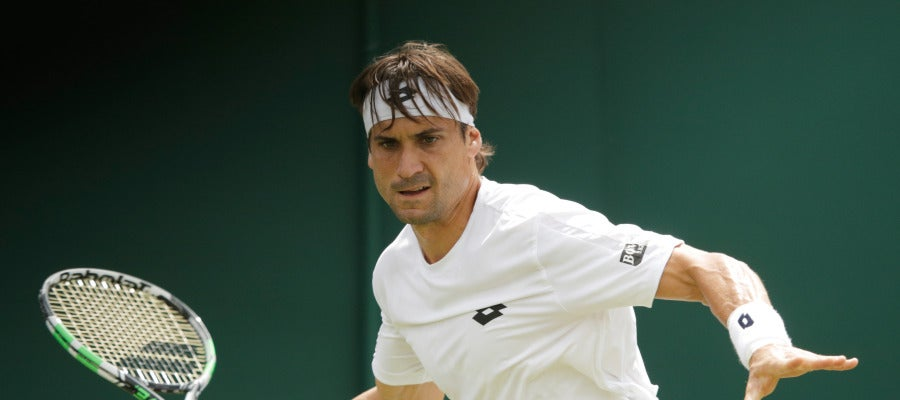 David Ferrer en un partido en Wimbledon