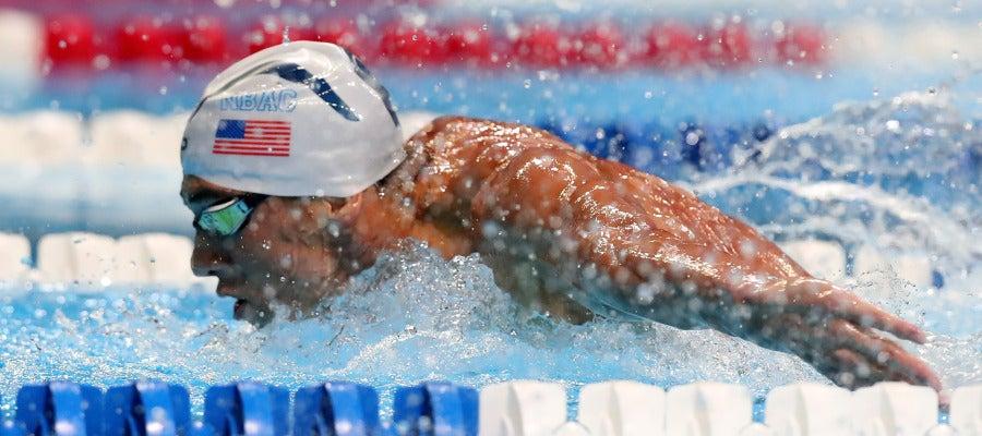 El nadador estadounidense Michael Phelps, durante la prueba