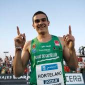 El atleta español Bruno Hortelano celebra su pase a la final de 100 metros