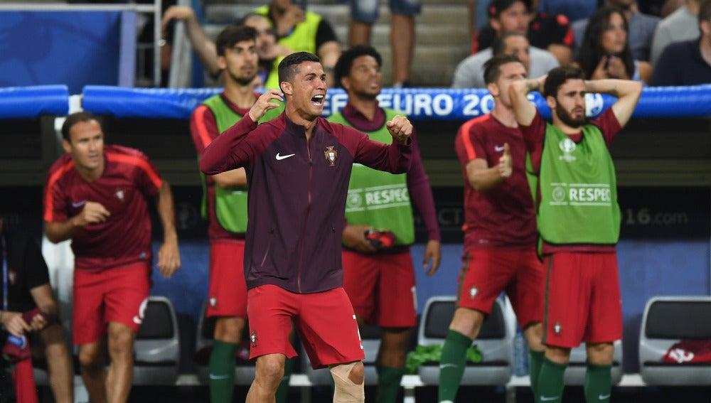 Cristiano celebrando el gol de Eder en la prórroga