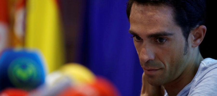 Alberto Contador, durante una rueda de prensa