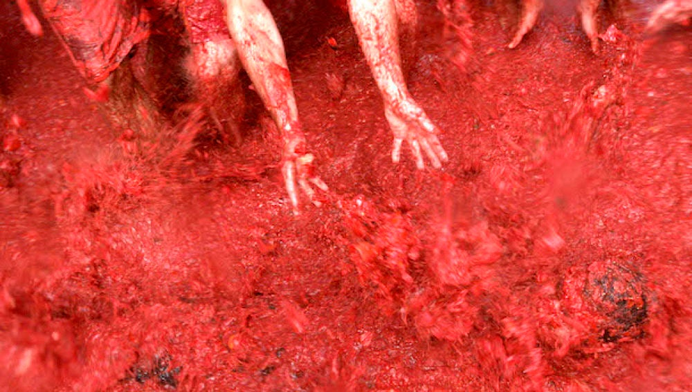 Baño en tomate en La Tomatina de 2008