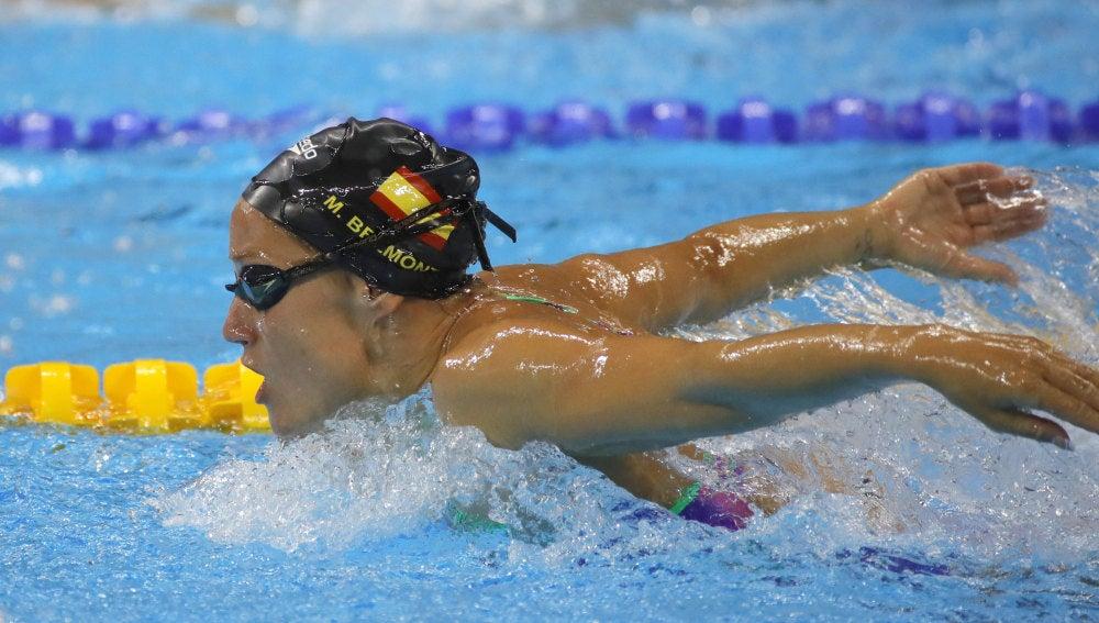 Mireia Belmonte, en su primer entrenamiento en la piscina del estadio acuático de Río