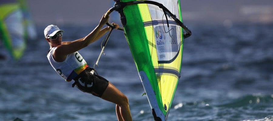 Marina Alabau, durante una regata en Río de Janeiro