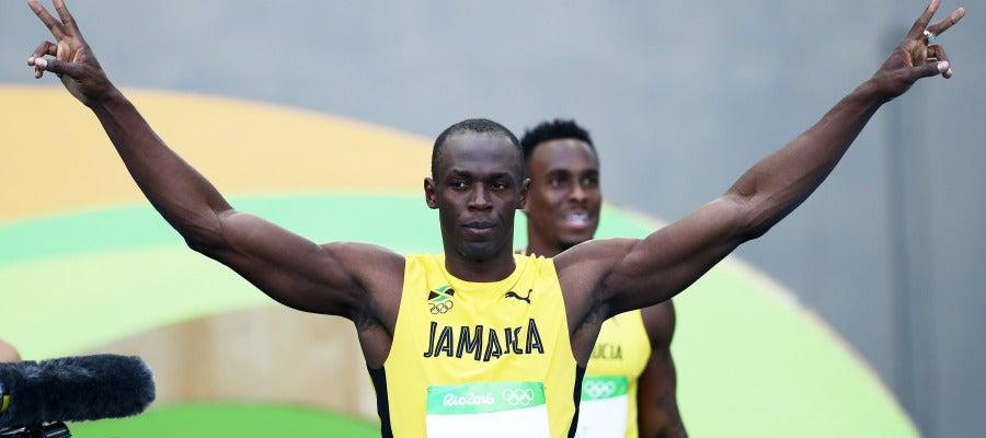 Usain Bolt celebra su victoria en los 100 metros en Río de Janeiro