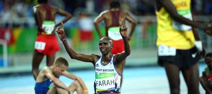 Mo Farah, tras imponerse en los 10.000 m de Río 2016