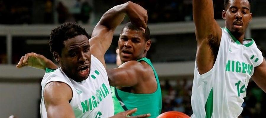 Imagen del partido de baloncesto entre Brasil y Nigeria