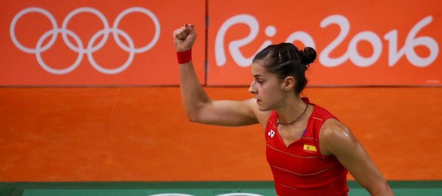 Carolina Marín celebra su victoria en los cuartos de final de Río de Janeiro