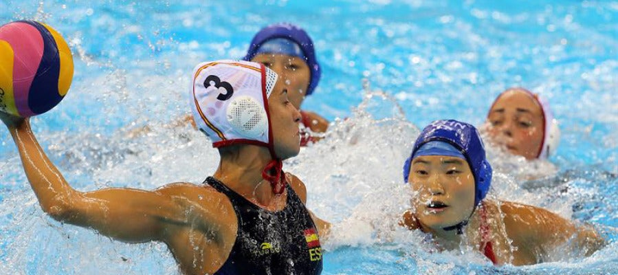 Imagen del partido de waterpolo entre España y China