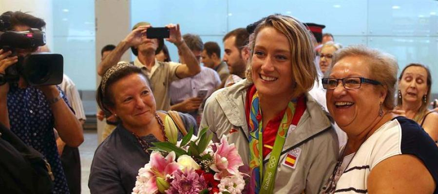 Mireia Belmonte a su llegada a Barcelona