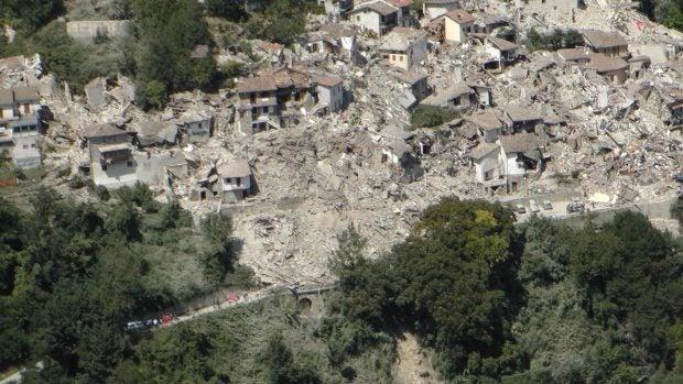 El resultado del terremoto en la ciudad de Amatrice