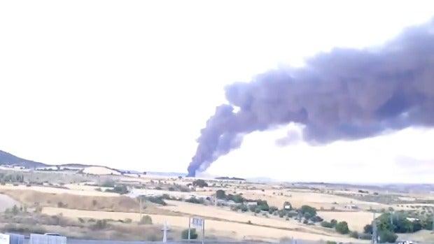 Vista del incendio de Chiloeches desde el Hospital de Guadalajara