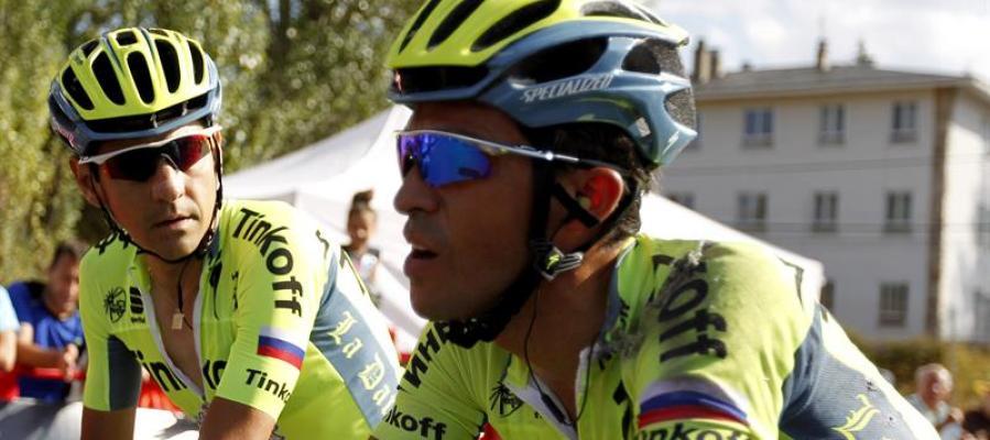 Alberto Contador, a su paso por meta en la etapa de la Vuelta a España
