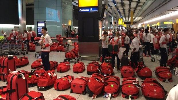 Lío con las maletas del equipo olímpico británico en el aeropuerto