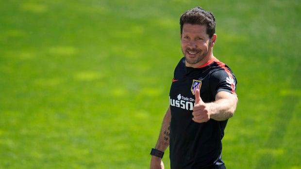 Diego Pablo Simeone en un entrenamiento del Atlético de Madrid
