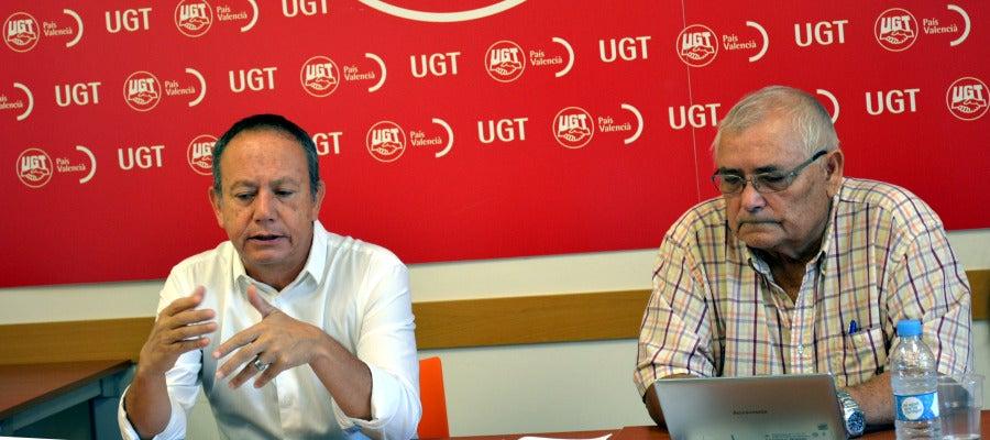 Hoy han comparecido en la sede de UGT PV de Castellón el Secretario General de UGT PV, Ismael Sáez, y el Secretario General de la de la Unión de Jubilados y Pensionistas de UGT PV, José Luis Almela, para presentar la campaña.