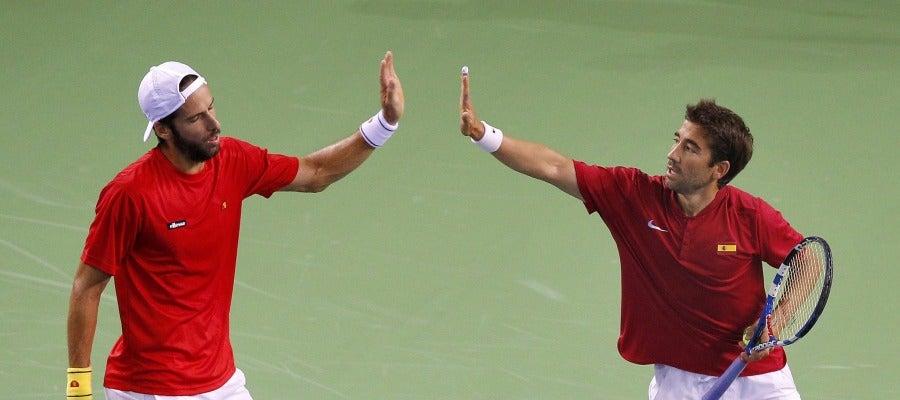 Feliciano López y Marc López en el US Open
