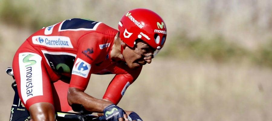Quintana, con el maillot rojo