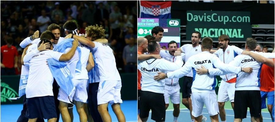 Los jugadores argentinso y croatas celebran la clasificación para la la final de la Copa Davis