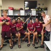 El vestuario del Atlético celebra la vuelta de Augusto a los entrenamientos