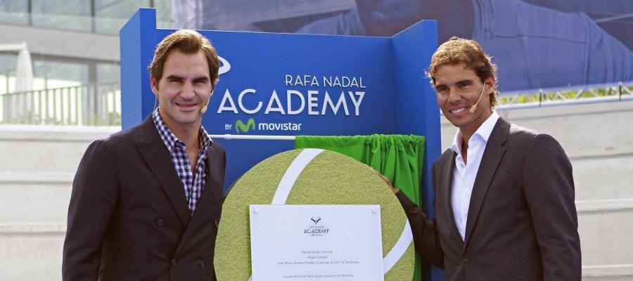 Rafa Nadal, en la inauguración de su Academia junto a Roger Federer