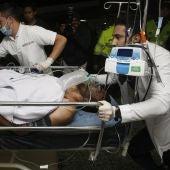 Alan Ruschel, a su llegada al hospital