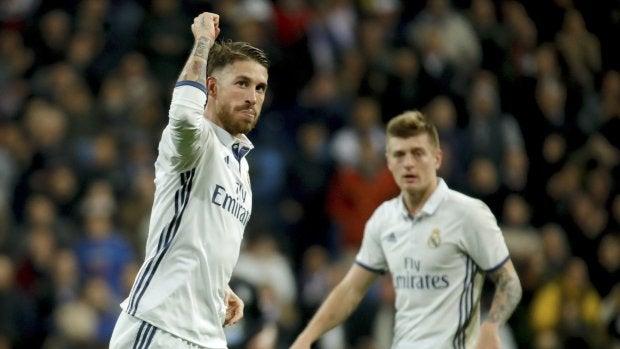 Sergio Ramos celebrando su gol frente al Deportivo