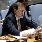 El presidente del Gobierno, Mariano Rajoy, preside la sesión del Consejo de Seguridad de la ONU