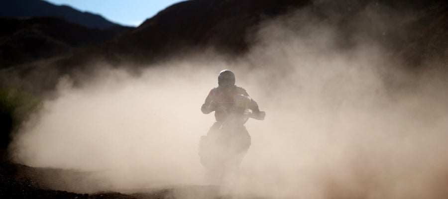 Barreda, en una etapa del Dakar