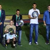 Follmann, Ruschel, Neto y Henzel, en el homenaje al Chapecoense en Río