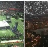Montaje del escenario durante el descanso de la Super Bowl