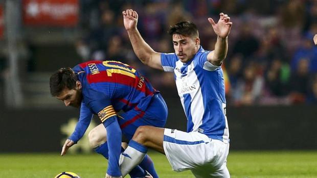 Messi en un enfrentamiento ante el Leganés.