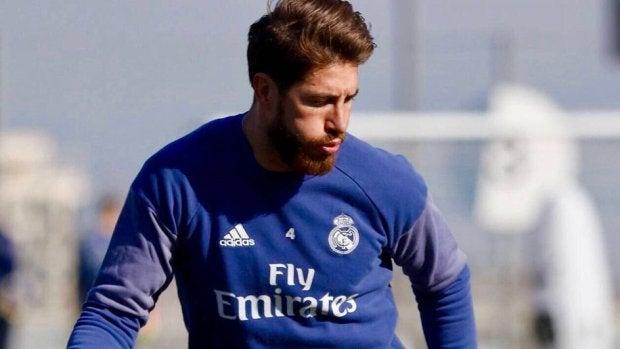 Sergio Ramos, durante el entrenamiento del Real Madrid