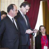 Mariano Rajoy junto a Hollande en Málaga