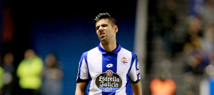 Juanfran, durante un partido con el Deportivo