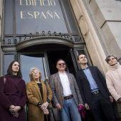 Manuela Carmena, José Manuel Calvo, Rita Maestre y el presidente del grupo Baraka, Trinitario Casanova